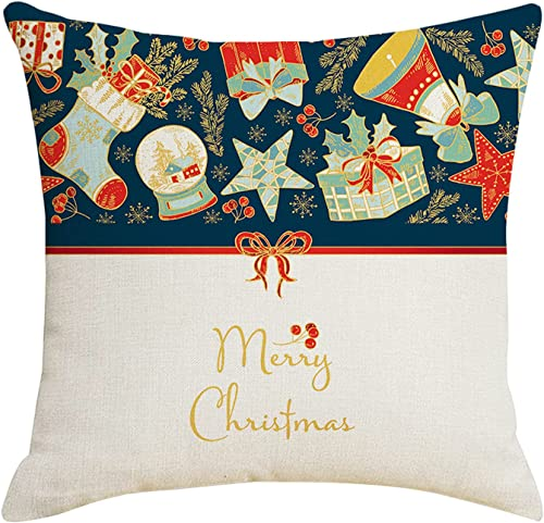 new arrival RiamxwR Christmas Pillow Covers lowest 18x18 Inch Blue and sale Gold Throw Pillow Cases Linen Xmas Hugging Pillow Case for Sofa Couch Holiday Christmas Decorations (Style A) outlet online sale