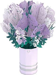 Lovepop Purple Rose Bouquet - 3D Flowers, Pop Up Bouquet, 3D Flower Bouquet, Card for Wife, Card for Mom