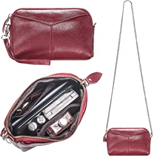 Women's Smartphone Soft Leather Wristlet Purse/Clutch Wallet/Crossbody Bag with Metal Chain Strap&Wrist Strap