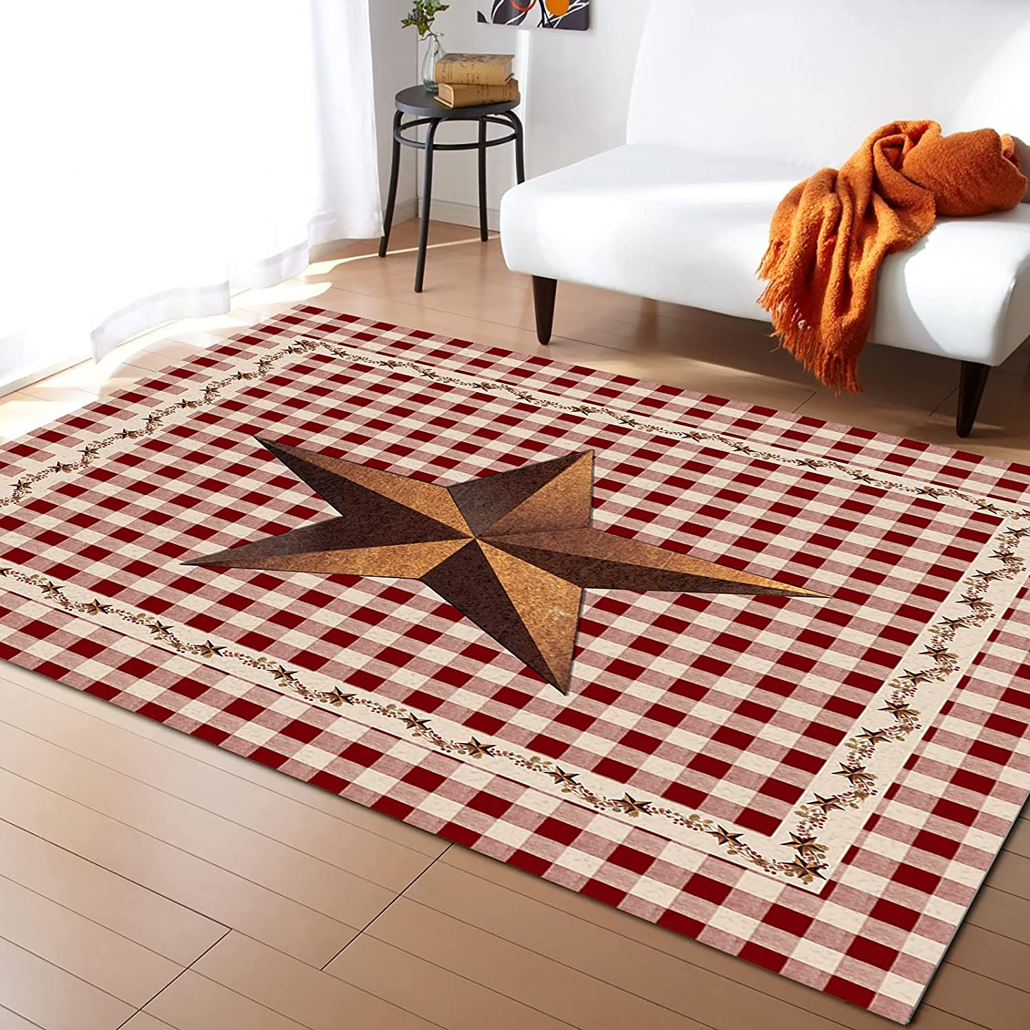 Easy-to-use ARTSHOWING American Country Style Area Rugs Non-Sli Bedroom trust for