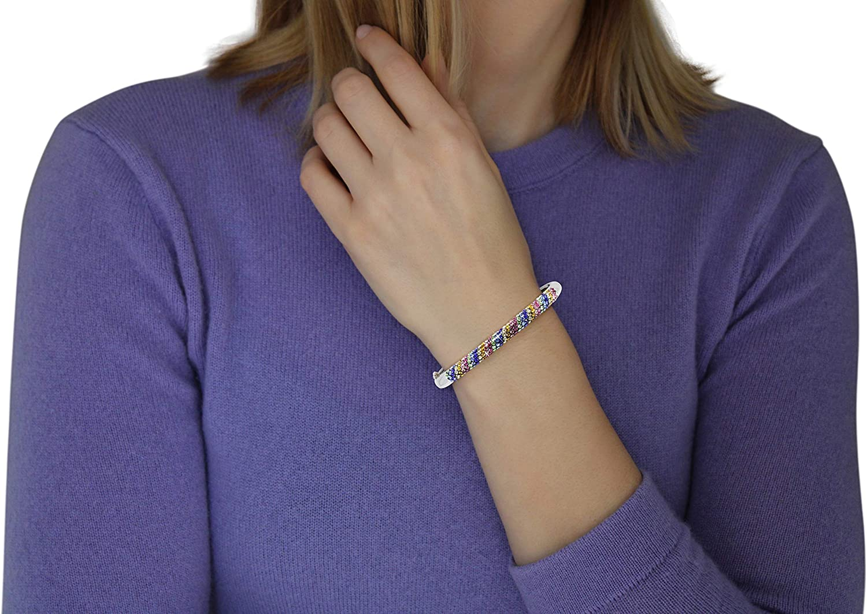 Savlano 18K White Gold Plated Round Cut Rainbow Cubic Zirconia Bangle Bracelet For Women & Girls Comes With Savlano Gift Box