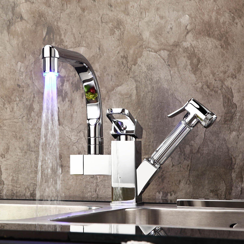 SHLONG Tap Kitchen Faucet Led Light Faucet Kitchen Pull Faucet