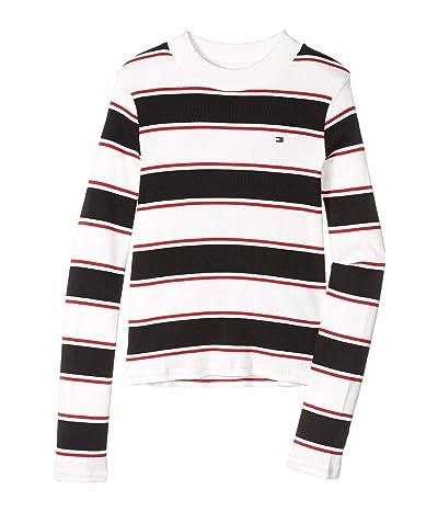 Tommy Hilfiger Kids Mock Neck Stripe Top (Big Kids) (Mock White) Girl