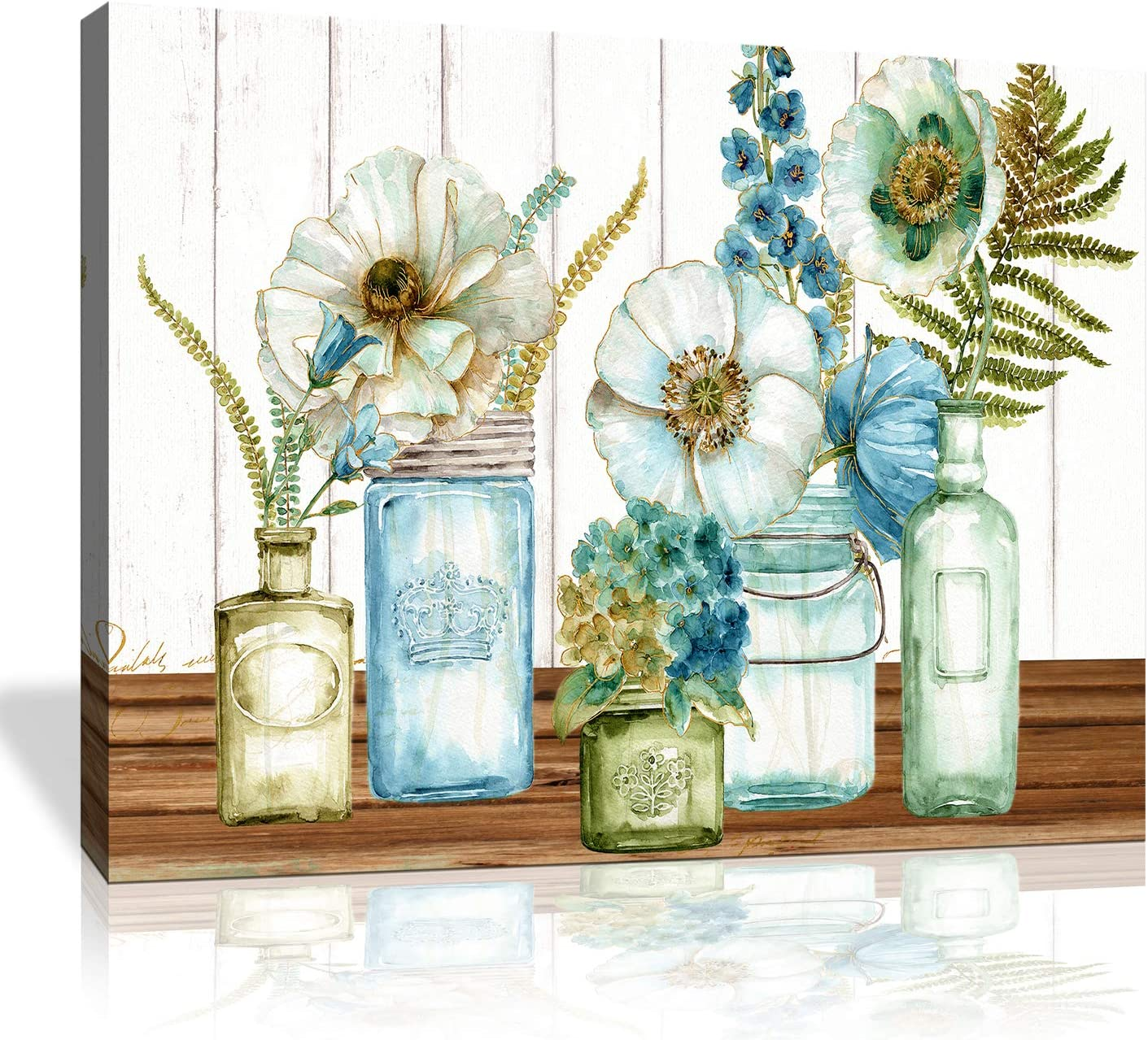 Canvas wall art for Kitchen Decor Painting Rustic Mason Jar Floral Wood Texture Plants Print Pictures Artwork for Home Kitchen Wall Decoration Framed Size:16x24inch