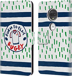 Official England Rugby Union Born to Play Badge 2017/18 Kids Leather Book Wallet Case Cover Compatible for Motorola Moto G7 / G7 Plus