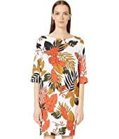 FUZZI - Leaf Print Cady 3/4 Sleeves Dress
