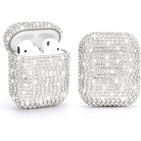 Gdrtwwh Diamond Airpods Case Cover Protective Airpods Charging Cases Hard Carrying Case Accessories for Apple Airpods 2 & 1 (Silver)