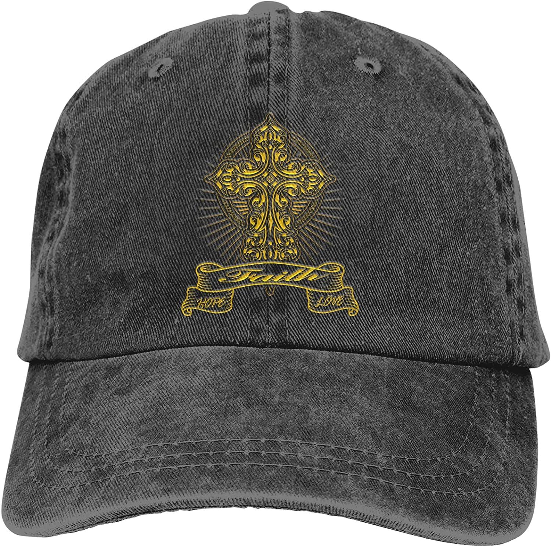 Faith Hope Love with Cross Light Baseball Cap for Men Women Unisex Dad Hats Trucker Hat Hunting Fishing Outdoor Sun Visor Cap Adjustable Black