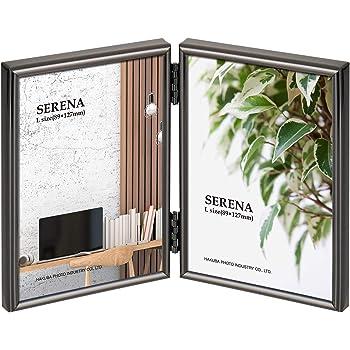 HAKUBA 額縁 メタルフォトフレーム SERENA 01(セレーナ 01) Lサイズ 2面 タテ ブラック FSR01-BKL2T