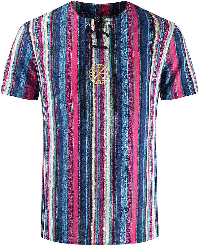Linen Shirts for Men Summer Mens Short Sleeve Casual Printed T-Shirt Top Blouse Vintage Print T-Shirt Top Blouse