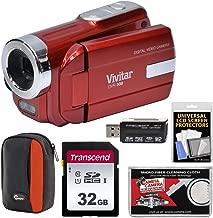 Vivitar DVR-508 HD Digital Video Camera Camcorder (Red) with 32GB Card + Case + Kit
