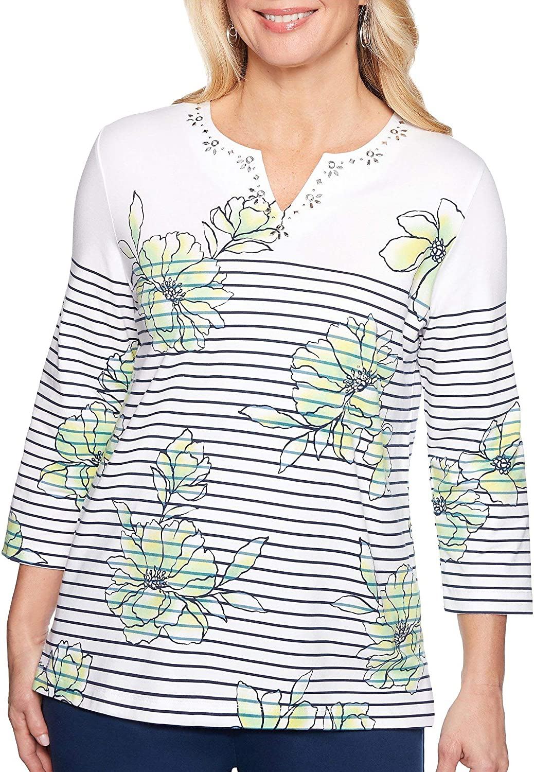 Alfred Dunner Womens Cote D'Azur Striped Floral Top