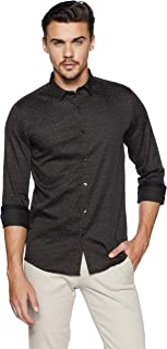 People Men's Floral Slim Fit Casual Shirt