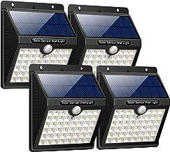 iPosible Luz Solar Jardín, Upgraded 46 LED 1800 mAh Foco Led Solar con Sensor Movimiento Lámpara Solar Exteriors Impermeable Solares de Pared de Seguridad 3 Inteligente Modos para Patio [4 Paquete]
