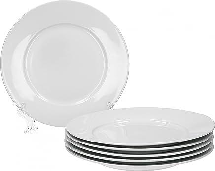 Preisvergleich für Van Well Trend 6er Set Speiseteller, flach Ø 24 cm weiß Porzellan Geschirr Teller
