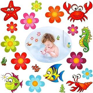 Flushbay 19枚入り お風呂 浴槽 滑り止め シール テープ バスタブ 滑り止め シール 防水ノンスリップ安全 転倒防止 介護用 浴室用 カラフル 可愛い 絵柄 海洋生物 フラワー