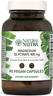 Natural Nutra Magnesium Glycinate 400 mg Supplement, Pure, Chelated, High Absorption and Bioavailable for Sleep, Anxiety, Restless Legs and Cramp Relief, Vegan, Soy Free, 90 Capsules