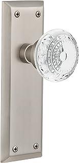 "Nostalgic Warehouse 753436 New York Plate With Crystal Meadows Privacy Door Knob, 2.75"", Satin Nickel"