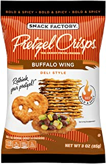 Snack Factory Pretzel Crisps Buffalo Wing On-the-Go Bag, 3 Ounce (Pack of 8)