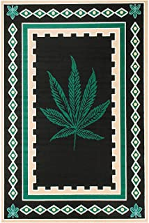 Rugs 4 Less Collection 420 Weed Marijuana Leaf Novelty Area Rug Mat Black Green and Brown Ganja Mary Jane 1 (2'x3')