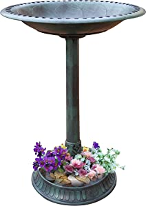 Gray Bunny GB-6906GRN, Outdoor Pedestal Bird Bath Stand with Steel Ground Anchors, Stylish & Elegant Faux Stone Designed Garden Ornament Made from Plastic, Lawn Patio Garden Sculpture Water Container
