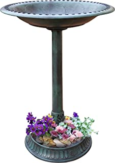 Outdoor Pedestal Bird Bath Stand with Steel Ground Anchors, Stylish & Elegant Faux Stone Designed Garden Ornament Made from Plastic, Lawn Patio Garden Sculpture Water Container