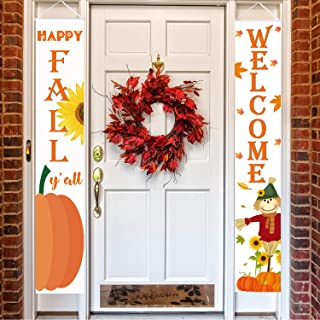 Happy Fall Hanging Banner Welcome Sign Autumn Door Decoration