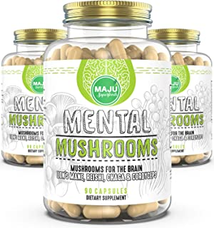 Maju Mental Mushroom Capsules - Mushroom Extract Supplement w/Lion's Mane, Cordyceps, Reishi and Chaga - Boost Your Focus,...