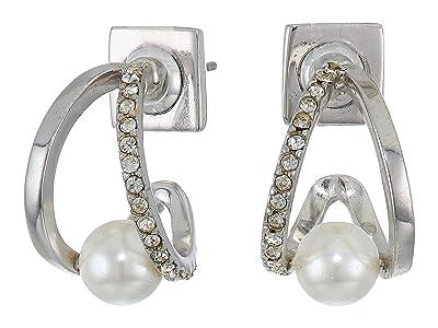 Vince Camuto Wedged Pearl Huggies Earrings (Rhodium/Crystal/Ivory Pearl) Earring