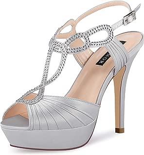 ERIJUNOR Women High Heel Fashion Stilettos Peep Toe Pumps Heeled Sandals Pleated Wedding Bridal Shoes