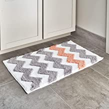 iDesign Chevron Microfiber Polyester Bath Mat, Non-Slip Shower Accent Rug for Master, Guest, and Kids' Bathroom, Entryway, 34