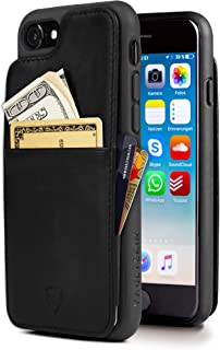 Vaultskin Eton Armour iPhone case with Leather Wallet (Black, iPhone 7/8)