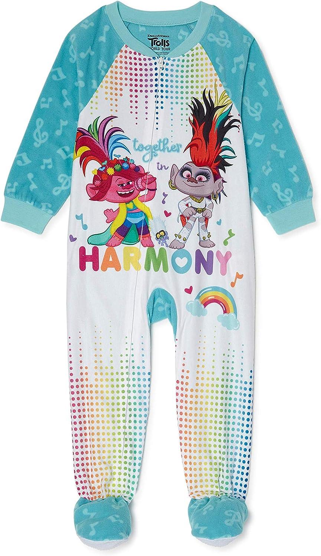 Trolls Toddler Girls Together in Harmony Microfleece Footed Blanket Sleeper Pajamas