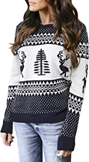 Utyful Women's Crew Neck Fair Isle Reindeer Ugly Christmas Knit Sweater Pullover