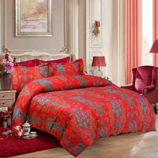 Softta Luxury Boho Chic Paisley Style Queen Size Duvet Cover Set Floral Bedding Set 4 Pcs (1 Duvet Cover + 1 Flat Sheet + 2 Pillowcases) Romantic Red Flower Egyptian Cotton Satin