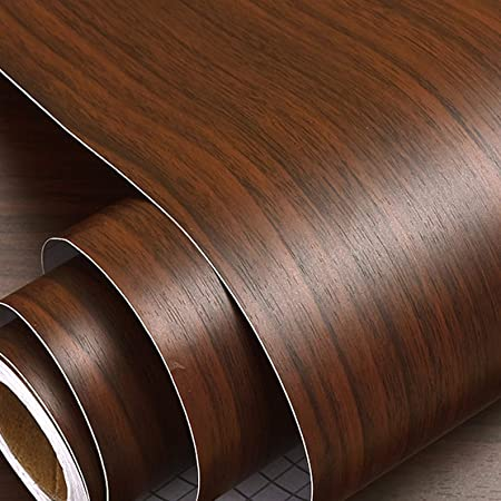 Wolpin Kitchen Wall Stickers Wood Wallpaper DIY PVC Shelf Liner, Furniture, Almirah, Table Top, Wardrobe, Kitchen Cupboard Decal, Mahogany Brown