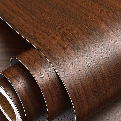 Wolpin Wall Stickers Furniture Wallpaper Wood 60 x 300 cm Door DIY Vinyl Almirah Shelf Liner Table Top Wardrobe Kitchen Cupboard Decal Mahogany Brown