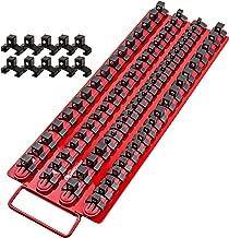 Mechan Tools 80pc Portable Socket Organizer Tray – Premium Quality Socket Tray – Adjustable Socket Holder – Sturdy Socket Rails w/Spring Loaded Ball Bearing Socket Clips For Tool Box Organization
