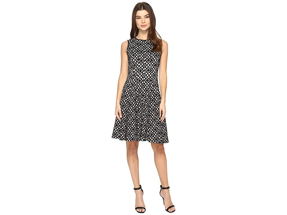Calvin Klein Laser Cut Flare Dress (Black) Women