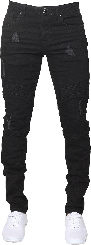 Bombing new work New ENZO Mens Super Skinny Stretch Denim All Biker Jeans Ripped Max 86% OFF