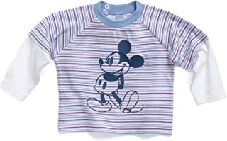 Disney 70701–T-Shirt, couche Optic, bandes, Mickey, Couleur: Bleu