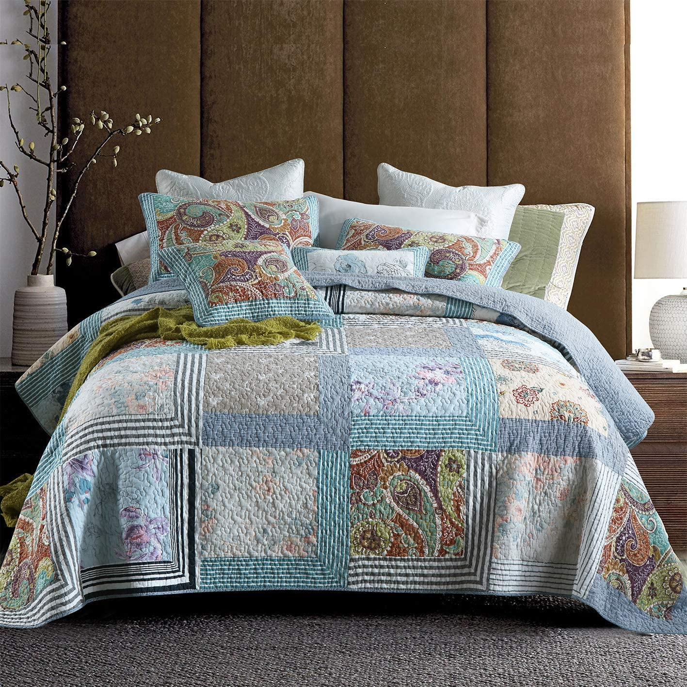 ROOMLIFE Clearance SALE trend rank Limited time Patchwork Stitched Grid Queen Boh Sets Quilt Retro Size