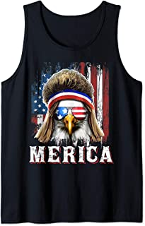 Merica Eagle Mullet Shirt 4th of July American Flag Gift Tank Top