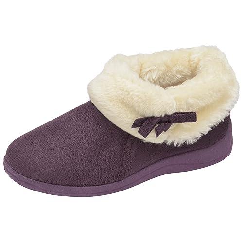 6de83a37d8a Ladies Famous Dunlop Suede Moccasin Slippers with warm faux fur Lining