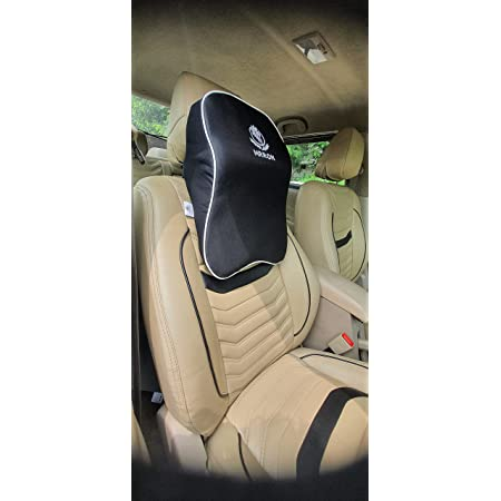 MRRON Supreme Series Memory Foam Detachable Neck / Headrest Rest & Shoulder Support for Car or Office Chair- Neck Pillow 360 Degree Adjustable (Black) (Black)