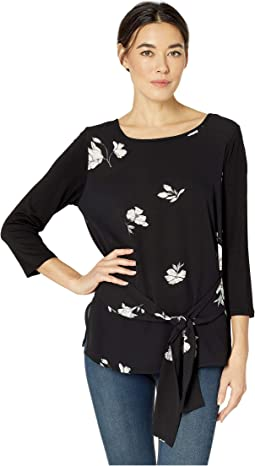 3/4 Sleeve Tie Front Mix Media Printed Top