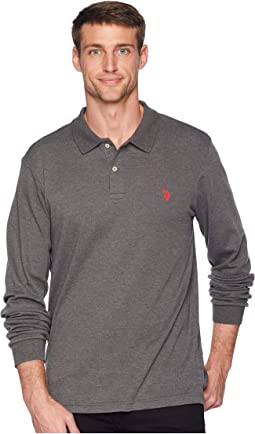 Long Sleeve Solid Small Pony Interlock Polo Shirt