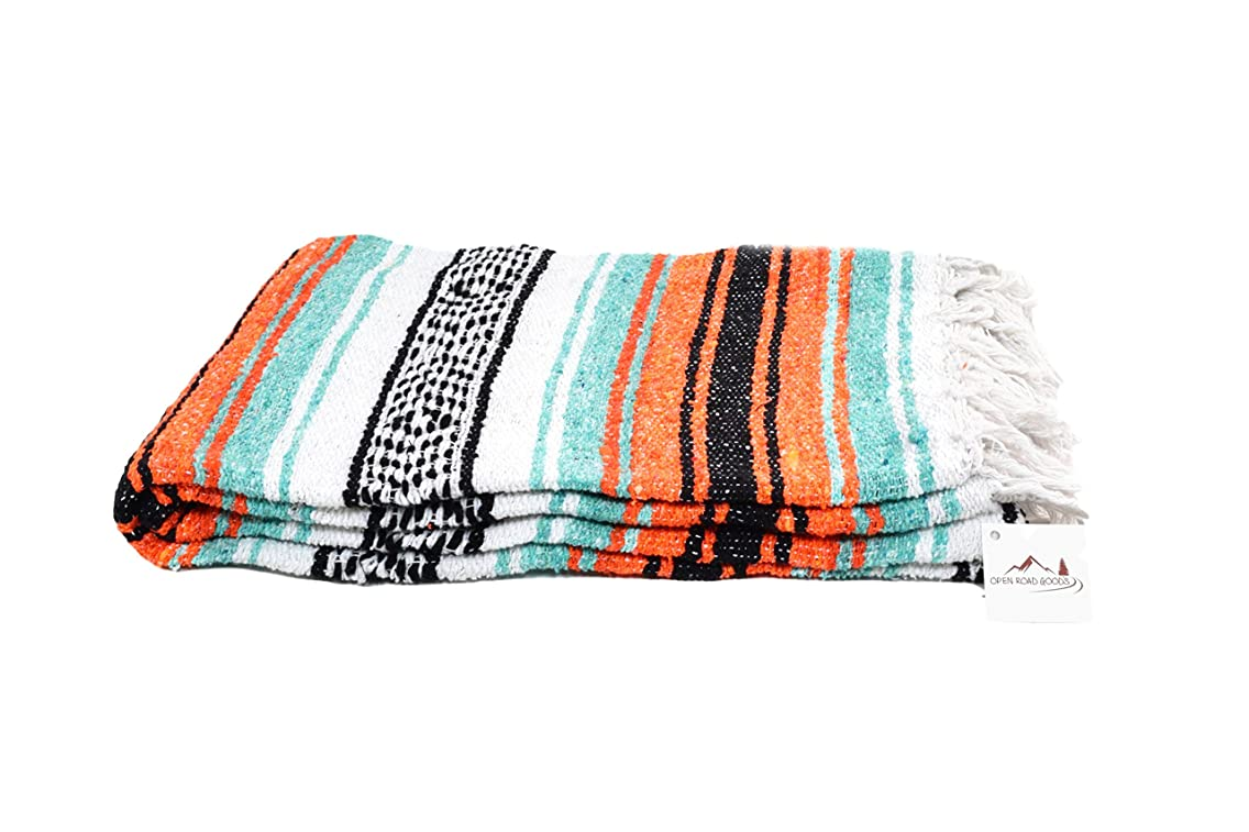 Open Road Goods Mexican Blanket in Mint/Teal/Turquoise, Orange & Black - Great for The Beach, Picnics, Yoga, or a Throw!