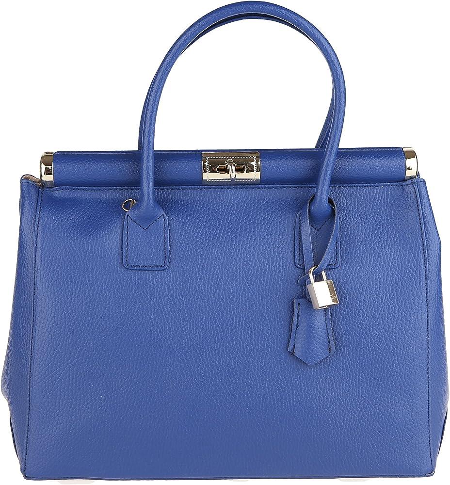 Chicca borse handbag borsa a mano/tracolla da donna in vera pelle DDD8005-BLUETTE_CTM