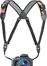 USA Gear DSLR Camera Strap Chest Harness with Quick Release Buckles, Floral Neoprene..